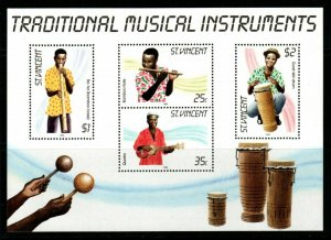 ST.VINCENT SGMS909 1985 TRADITIONAL MUSICAL INSTRUMENTS MNH