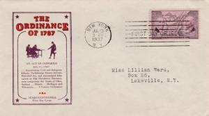 United States sc# 795 FDC - pm at NYC July 13, 1937 - Ordinance of 1787