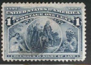 USA Scott 230 Used 1893 Colombian 1c stamp