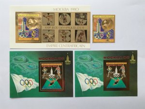 Central Africa1980 Olympic Games in Moscow  Mi#622 Bl#65A,66A,66B Gold Mint