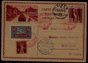 Switzerland Zeppelin card 3.11.29 Heiden
