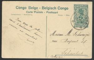 BELGIAN CONGO 15c pictorial postcard - Farming - used to Belgium...........51208