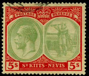 ST KITTS-NEVIS SG47c, 5s green & red/blue, USED. Cat £100.