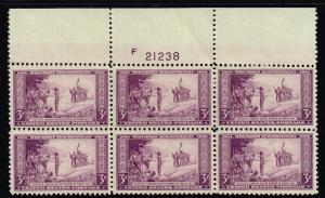 US STAMP  # 739 – 1934 3c Wisconsin Tercentenary MNH PL# BLK OF 6