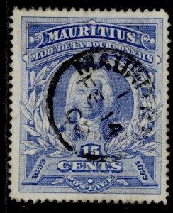 MAURITIUS QV SG136, 15c ultramarine, FINE USED. CDS