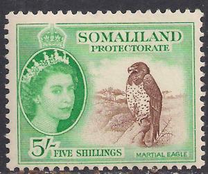 Somaliland 1953 - 58 QE2 5/-d Brown & Green MM SG 147 ( R1033 )