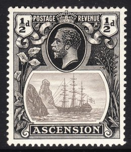 1924 Ascension King George V KGV ½p Badge of the Colony MMH Sc# 10 CV $6.75