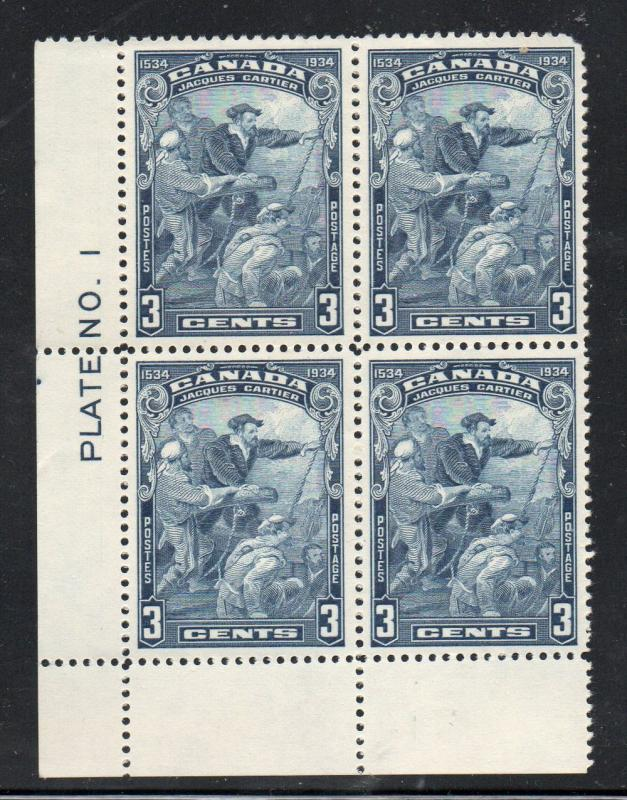 Canada Sc 208 1934 3 c Cartier stamp plate block mint