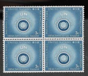 United Nations 1957 New York UN Emergency Fund C# 51-52 Block of 4 MNH