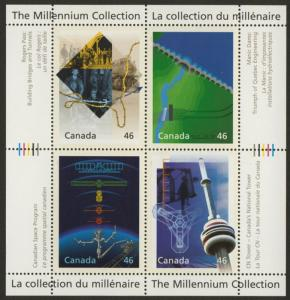 Canada 1831 MNH CN Tower, Space, Manic Dams, Rogers Pass Tunnels