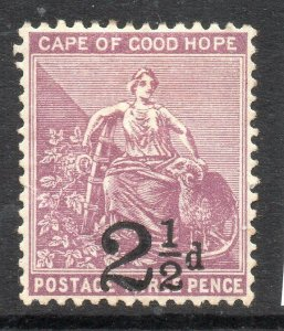 Cape of Good Hope: 1891 Hope 3d ovpt. 2½d SG 55 mint
