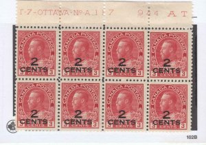 CANADA # 140 VF-MNH 3MH PLATE BLOCK OF KGV 2cts PROVISIONALS CAT VALUE $450++
