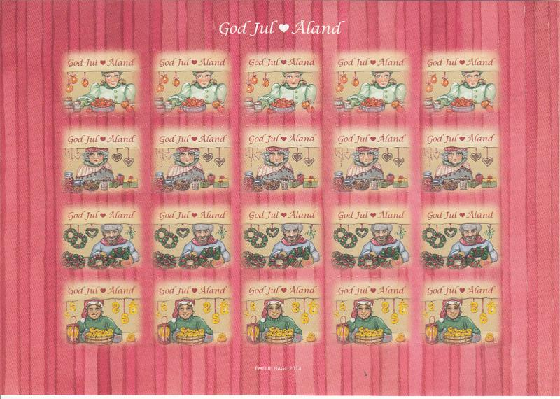 Aland 2014 MNH Sheet of 20 Christmas Seals Market vendors 4 different