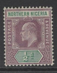 NORTHERN NIGERIA SG20 1905 ½d DULL PURPLE & GREEN MTD MINT