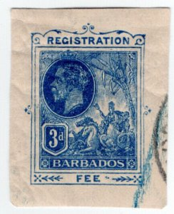 (I.B) Barbados Postal : Registration Fee 3d