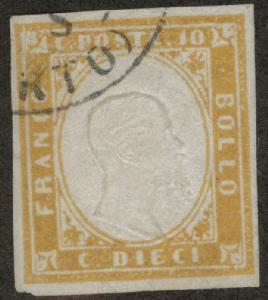 Sardinia Scott 11a Used 1862 ochre King Victor Emanuel II