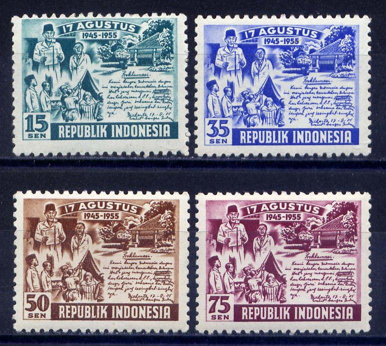 INDONESIA Sc#406-9 1955 10th Anniversary of Independence MLH