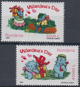 Romania MNH 4502-3 Valentines Day 2002 SCV 4.00