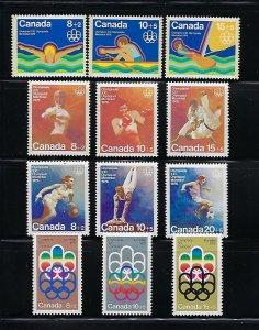 CANADA SCOTT #B1-B12 COMPLETE 1974-76 SEMIPOSTAL- MONTREAL OLYMPICS- MINT NH