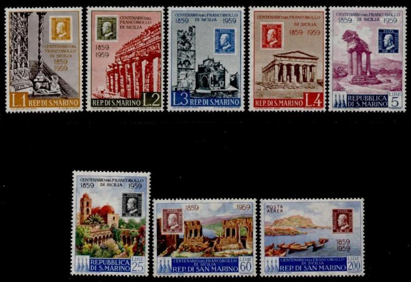 San Marino 439-45, C110 MNH Stamp on Stamp, Architecture, Boats
