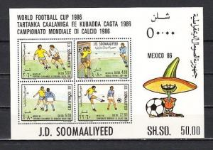 Somalia, Scott cat. 571a. World Cup Soccer s/sheet.