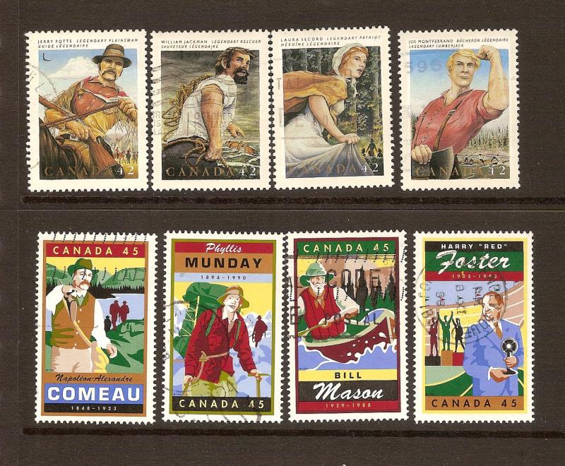 CANADA SET OF CANADIAN FOLKLORE (8) USED STAMPS  LOT#69