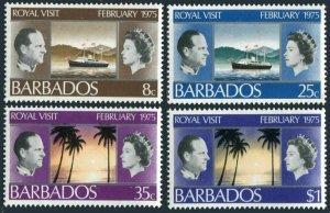 Barbados 416-419,MNH.Michel 385-388. Royal visit 1974.Yacht Britannia,Palms,