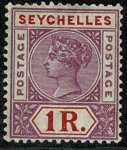 SEYCHELLES QV1879-1900 1R MAUVE & RED (DIE II) UNUSED SG34 Wmk.CROWN CA P.14 VGC