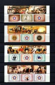BARBUDA - 1976 - US BICENTENNIAL - REVOLUTION - 4 X MINT - MNH STRIPS + LABELS!