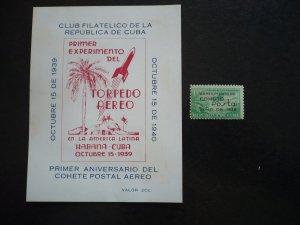 Stamps - Cuba - Scott# C31 - Mint Hinged Airmail overprinted Stamp + Souvenir
