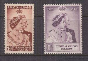 TURKS & CAICOS ISLANDS, 1948 Silver Wedding pair, mnh..