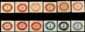 LIECHTENSTEIN Sc#J1-J12 1920 First Postage Dues Complete Set OG Mint Hinged (1c)