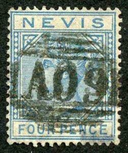 Nevis SG30 4d Blue wmk Crown CA a difficult stamp Cat 50 pounds