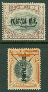 NORTH BORNEO : 1901-02. SG #D28-29 period after 'DUE' VF Mint OGH. Catalog £123.