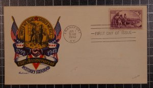 Scott 904 - 3 Cents Kentucky Staehle FDC - Erased Address Planty 904-33
