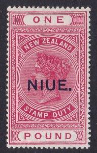 NIUE 1918 NIUE on QV £1 Postal Fiscal DLR paper