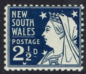NEW SOUTH WALES 1907 QV 21/2D WMK CROWN/DOUBLE LINED A