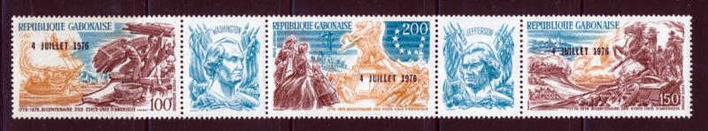 GABON 1976 AMERICAN BICENTENNIAL TRIPTYCH WITH O/P SCOTT C181-83 + 2 LABLES
