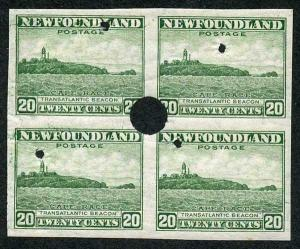 Newfoundland SG218 20c Green Imperf Plate Proof with Security Punch