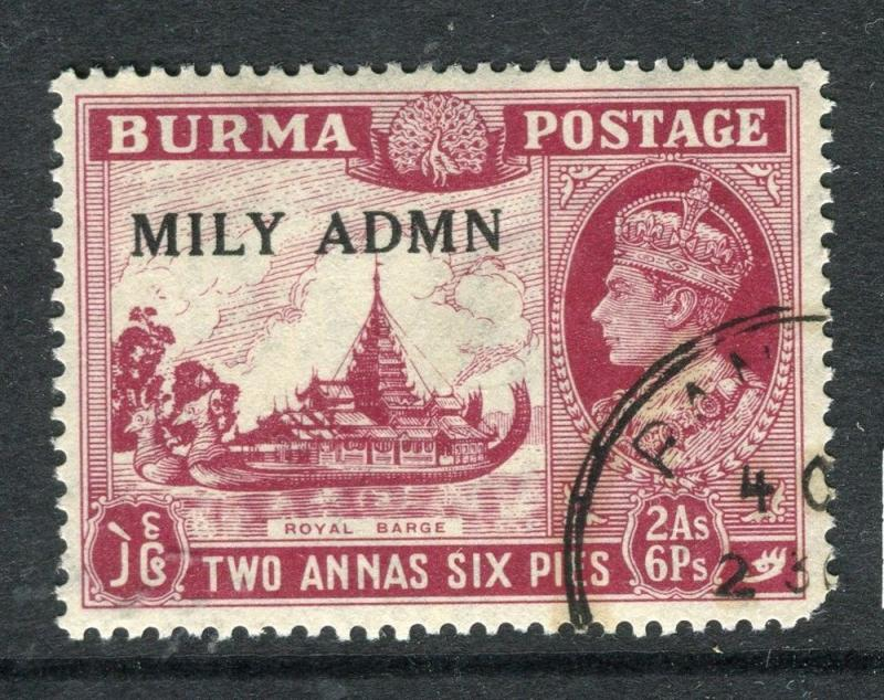 BURMA; 1945 Mily ADMN GVI issue used 2a. 6p. VARIETY Bird in Trees