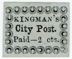 (I.B) US Local Post : Kingman's City Post 2c