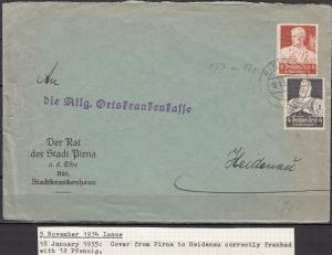 Germany - 18.1.1935 Professions stamps on cover Pirna - Heidenau (5056)