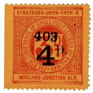 (I.B) Stratford-upon-Avon & Midland Junction Railway : Letter Stamp 4d on 3d OP