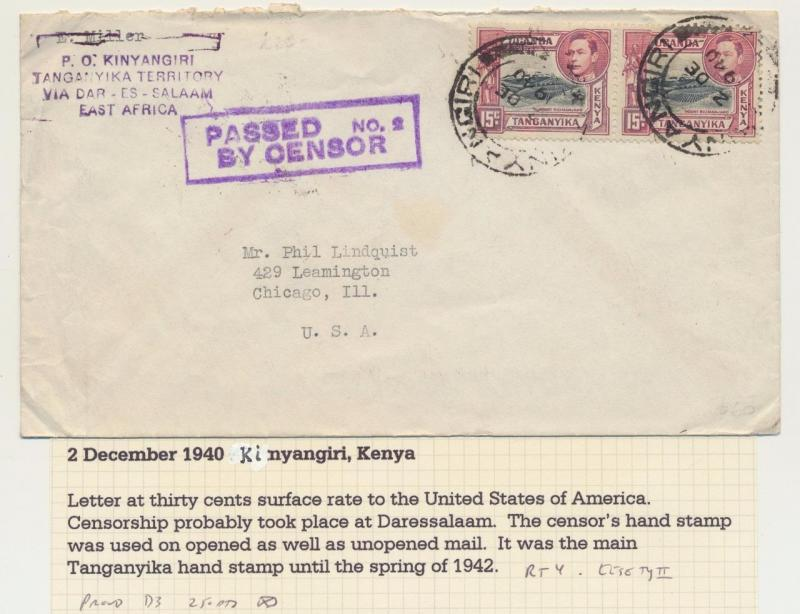KUT -KINYANGIRI TO USA 1940 CENSOR COVER, 30c RATE(SEE BELOW)