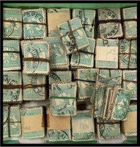 K1117) Aus Kangaroos 1913 - 1936 1/- blue-green, various wmks, bundle of 100