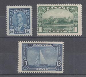 Canada Sc 214-216 MNH. 1935 Pictorials, run of 3 high values, F-VF