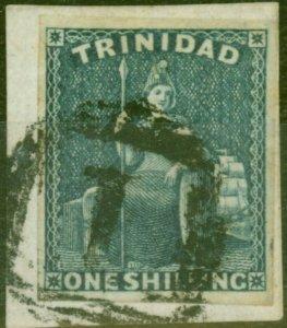 Trinidad 1859 1s Indigo SG29 Fine Used on Piece with Royal Certificate