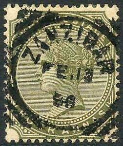 Zanzibar SGZ69 4a Olive-green Z5 Squared Circle dated 13th Feb 1888