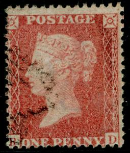 SG38, 1d pale red, LC14, FINE USED. Cat £35.