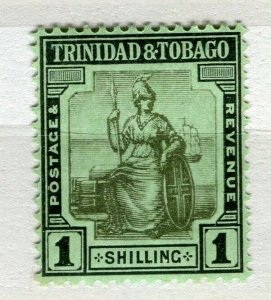 TRINIDAD; 1913 early Britannia issue Mint hinged Shade of 1s. value